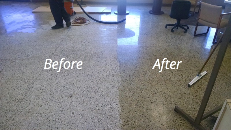 Compare floor before and after cleaning.